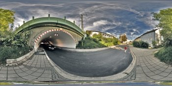 Railroad underpass panorama