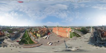 Royal castle (kite panorama), Warsaw, Poland panorama