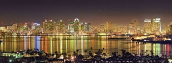 San Diego Downtown Reflections panorama